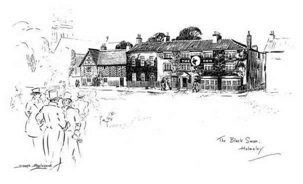 """THE 'BLACK SWAN', HELMSLEY"". The old stables still stand as a reminder of"
